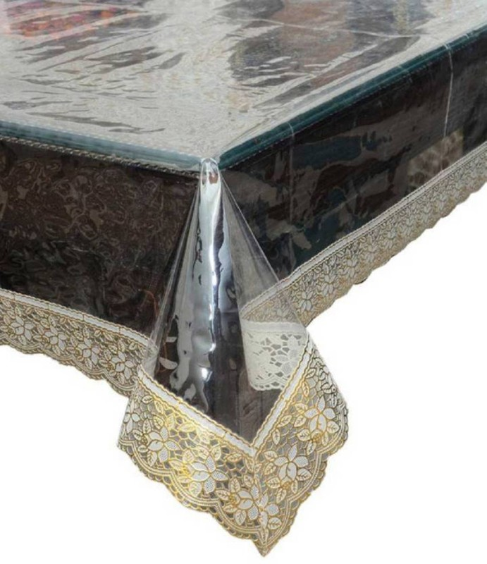 Aadya Shoppings Solid, Self Design, Floral, Abstract 6 Seater Table Cover(Transparent, PVC)