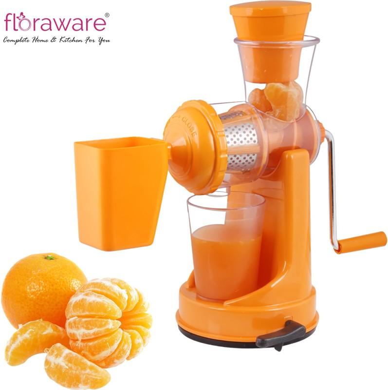 Floraware Orange Coloured with Waste Collector Fruit & Vegetable Plastic Hand Juicer(Orange)