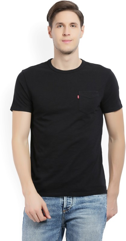 Levis Self Design Mens Round Neck Black T-Shirt