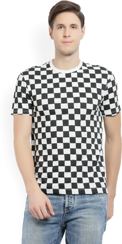 Levis Checkered Mens Round Neck Black, White T-Shirt