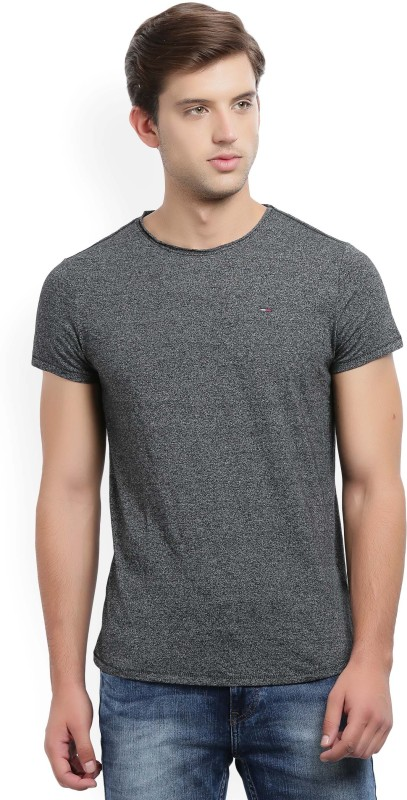Tommy Hilfiger Self Design Mens Round Neck Grey T-Shirt