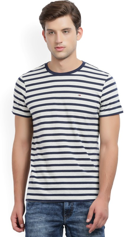 Tommy Hilfiger Striped Mens Round Neck White, Blue T-Shirt