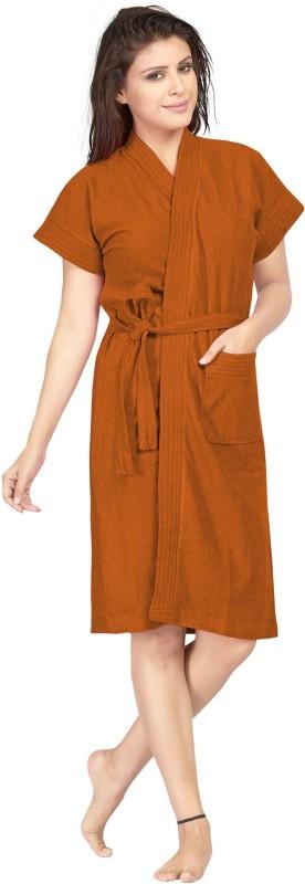 Be You Tan Brown Free Size Bath Robe(1 bathrobe with belt, For: Women, Tan Brown)