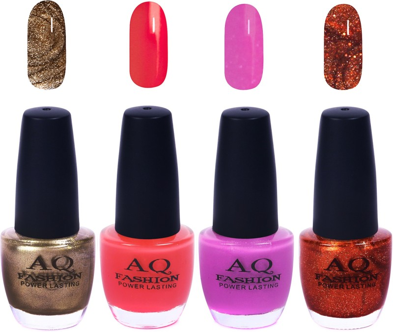 AQ Fashion Funky Vibrant Range of Colors Nail polish Espresso Golden,Light Coral,Silence Violet,Titanic Shimmer(Pack of 4)
