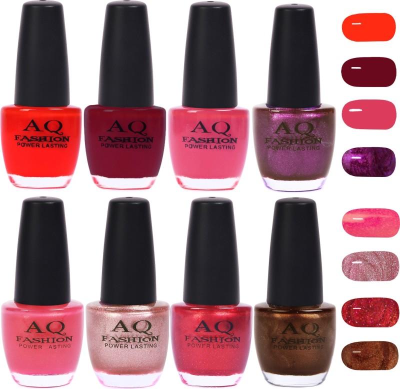 AQ Fashion Gorgeous Shade Nail Polish Set 1020 Multicolor(Pack of 8)