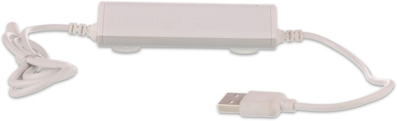 Callmate 2600 Power Bank (Battery Cable Power Bank, Built-in- Micro Chaging Data Cable)(White, Lithium-ion)