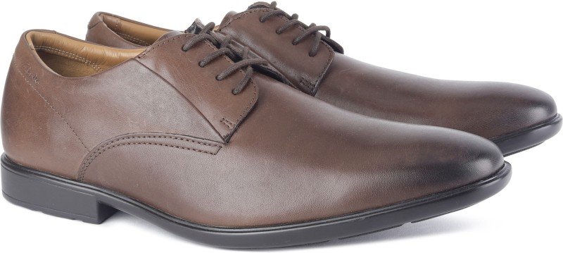 Clarks Gosworth Walk Walnut Leather Lace Up For Men(Brown)