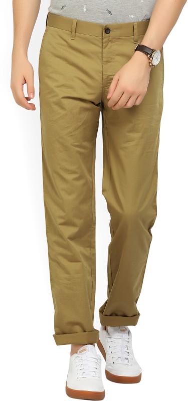 Louis Philippe Slim Fit Men Beige Trousers