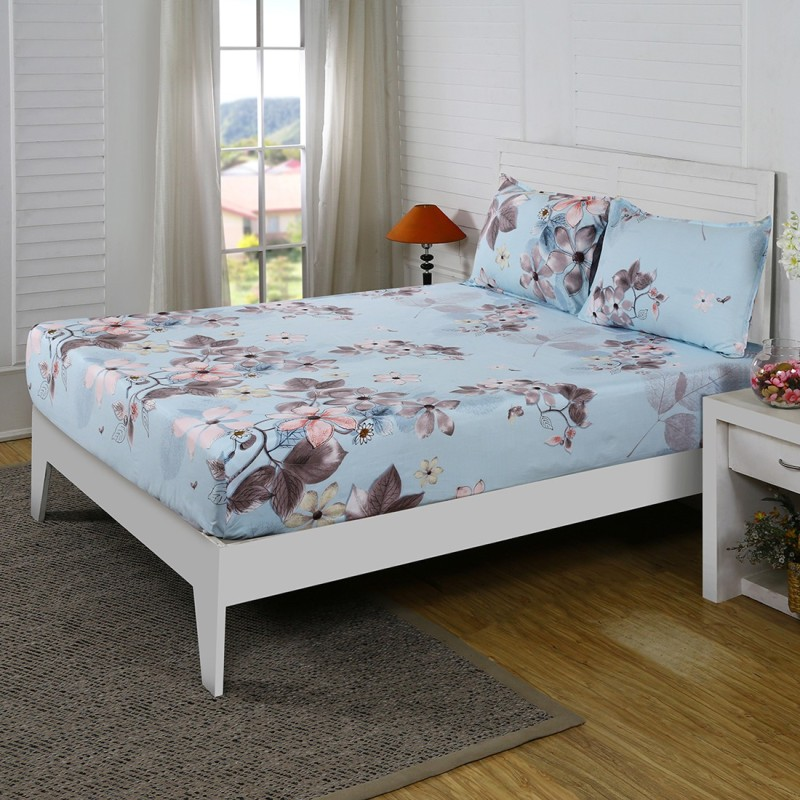 Maspar by Inhouse collection 210 TC Cotton Double Floral Bedsheet(Pack of 1, Blue)