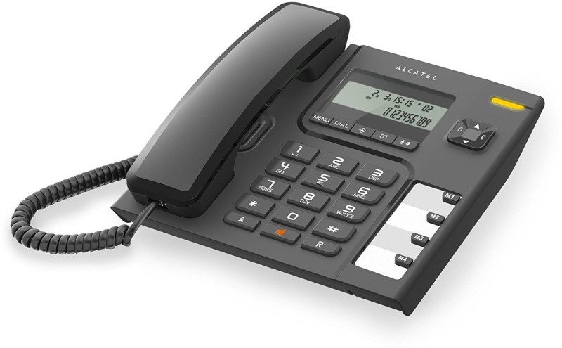 Alcatel T-56 Black corded landline phone with caller id and handsfree function supported by date/time display & 4 direct 10 two touch memories. Corded Landline Phone(Black)