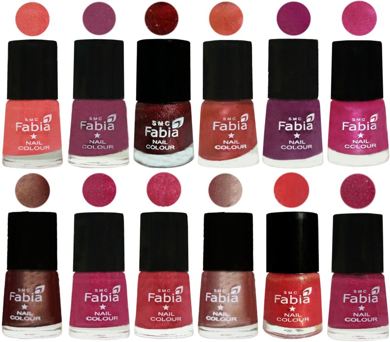 Fabia Nail Polish Pack of 12(6 Ml Each) Professional Serious Nail Polish Light Peach-Dark Cherry Blossom-Brick Red-Dark Peach-Shock Pink-Pink-Light Coffee-Magenta-Shock Pink Light-Light Nude-Red Orange-Hot Magenta(Pack of 12)