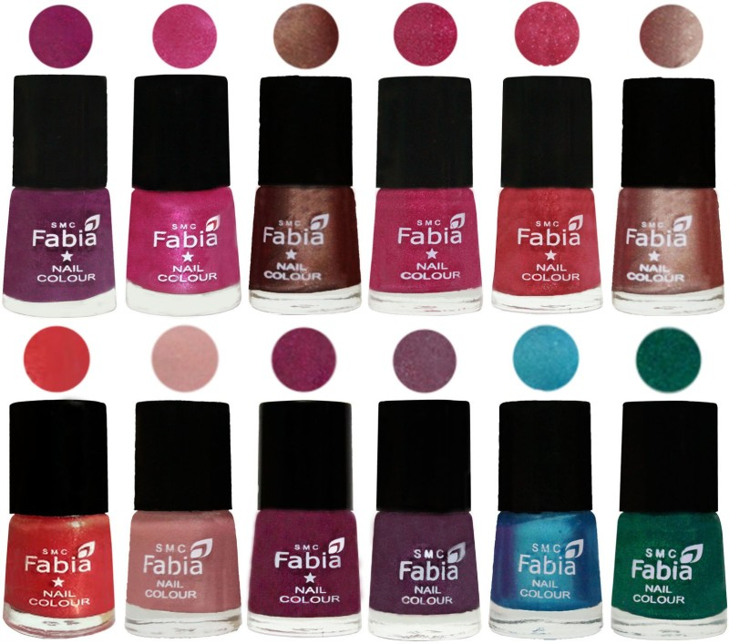 Fabia Nail Polish Pack of 12(6 Ml Each) Professional Serious Nail Polish Shock Pink-Pink-Light Coffee-Magenta-Shock Pink Light-Light Nude-Red Orange-Shrimp Pastell-Cherry Blossom-Light Jam-Denim-Green(Pack of 12)