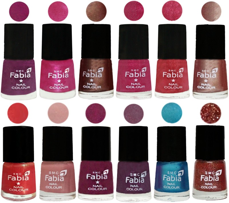 Fabia Nail Polish Pack of 12(6 Ml Each) Professional Serious Nail Polish Shock Pink-Pink-Light Coffee-Magenta-Shock Pink Light-Light Nude-Red Orange-Shrimp Pastell-Cherry Blossom-Light Jam-Denim-Jerry Wine(Pack of 12)
