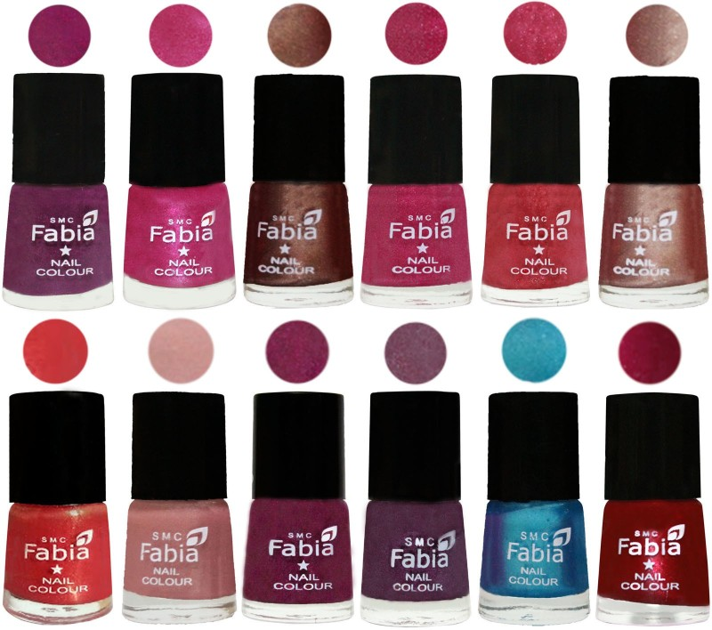 Fabia Nail Polish Pack of 12(6 Ml Each) Professional Serious Nail Polish Shock Pink-Pink-Light Coffee-Magenta-Shock Pink Light-Light Nude-Red Orange-Shrimp Pastell-Cherry Blossom-Light Jam-Denim-Dark Magenta(Pack of 12)