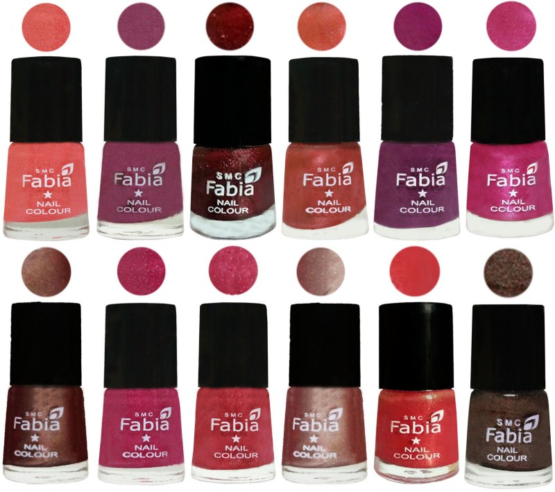 Fabia Nail Polish Pack of 12(6 Ml Each) Professional Serious Nail Polish Light Peach-Dark Cherry Blossom-Brick Red-Dark Peach-Shock Pink-Pink-Light Coffee-Magenta-Shock Pink Light-Light Nude-Red Orange-Dark Brown(Pack of 12)