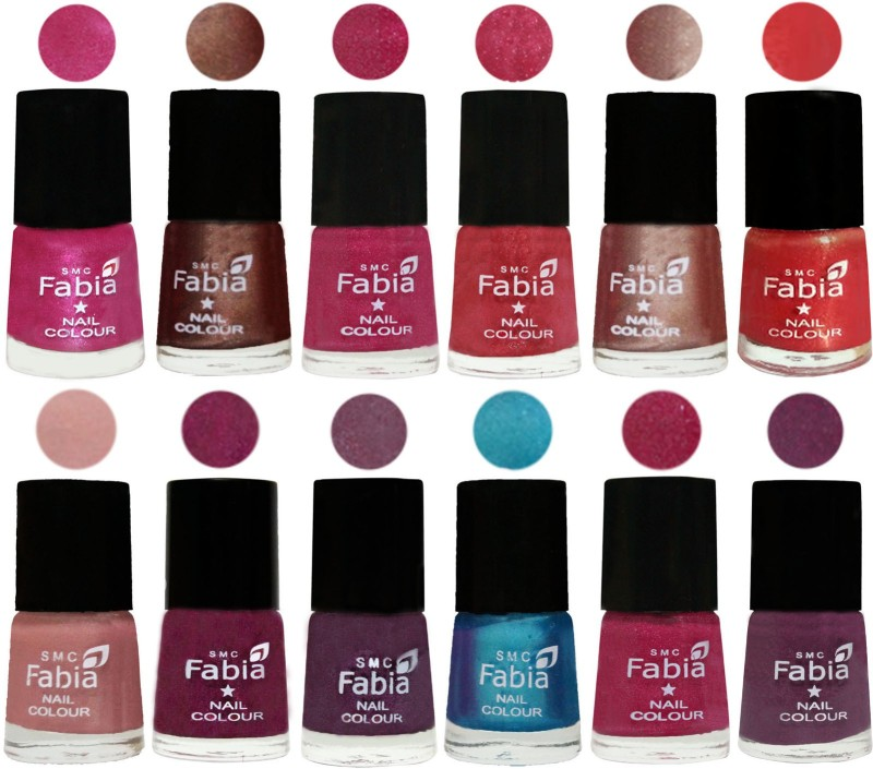 Fabia Nail Polish Pack of 12(6 Ml Each) Professional Serious Nail Polish Pink-Light Coffee-Magenta-Shock Pink Light-Light Nude-Red Orange-Shrimp Pastell-Cherry Blossom-Light Jam-Denim-Hot Magenta-Brinjal Purple(Pack of 12)