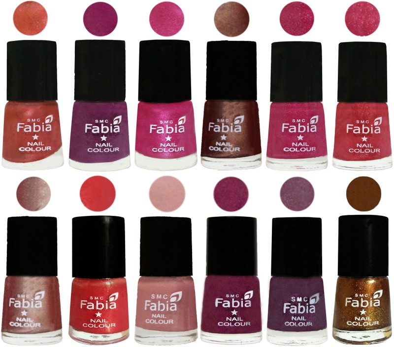 Fabia Nail Polish Pack of 12(6 Ml Each) Professional Serious Nail Polish Dark Peach-Shock Pink-Pink-Light Coffee-Magenta-Shock Pink Light-Light Nude-Red Orange-Shrimp Pastell-Cherry Blossom-Light Jam-Dark Golden(Pack of 12)