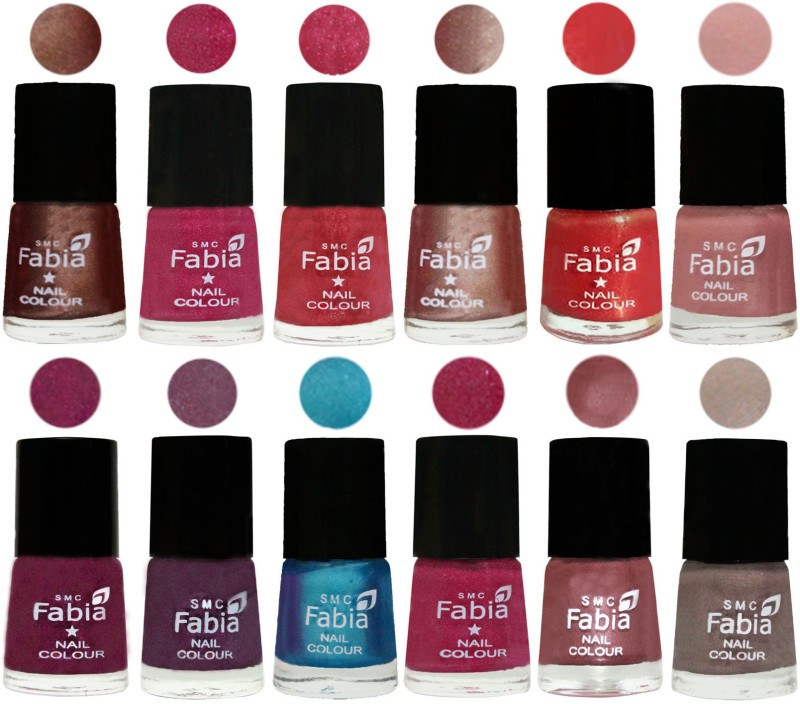 Fabia Nail Polish Pack of 12(6 Ml Each) Professional Serious Nail Polish Light Coffee-Magenta-Shock Pink Light-Light Nude-Red Orange-Shrimp Pastell-Cherry Blossom-Light Jam-Denim-Hot Magenta-Lip-Light Beige(Pack of 12)