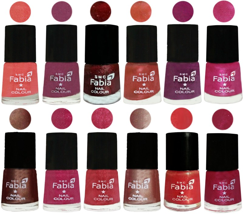 Fabia Nail Polish Pack of 12(6 Ml Each) Professional Serious Nail Polish Light Peach-Dark Cherry Blossom-Brick Red-Dark Peach-Shock Pink-Pink-Light Coffee-Magenta-Shock Pink Light-Light Nude-Red Orange-Cherry Pink(Pack of 12)