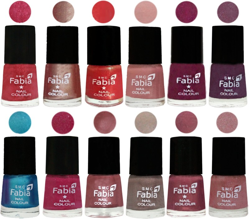 Fabia Nail Polish Pack of 12(6 Ml Each) Professional Serious Nail Polish Shock Pink Light-Light Nude-Red Orange-Shrimp Pastell-Cherry Blossom-Light Jam-Denim-Hot Magenta-Lip-Light Beige-Dusty Pink-Light pink(Pack of 12)