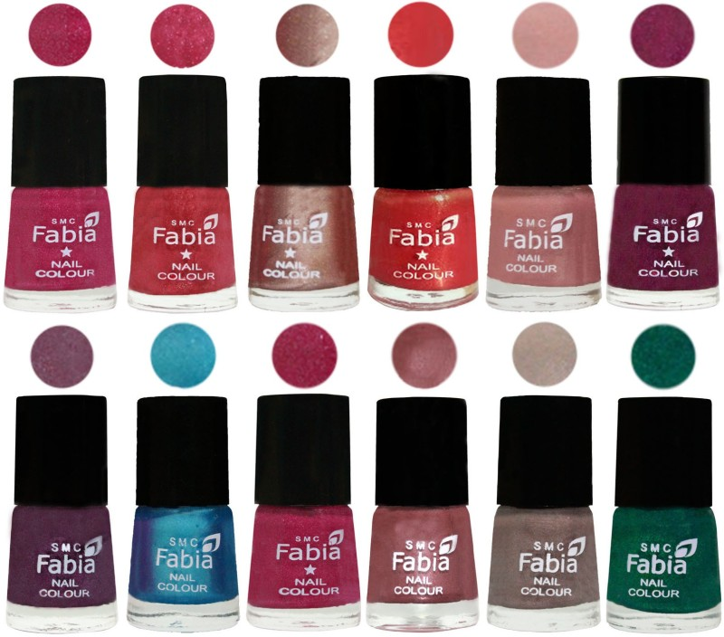 Fabia Nail Polish Pack of 12(6 Ml Each) Professional Serious Nail Polish Magenta-Shock Pink Light-Light Nude-Red Orange-Shrimp Pastell-Cherry Blossom-Light Jam-Denim-Hot Magenta-Lip-Light Beige-Green(Pack of 12)