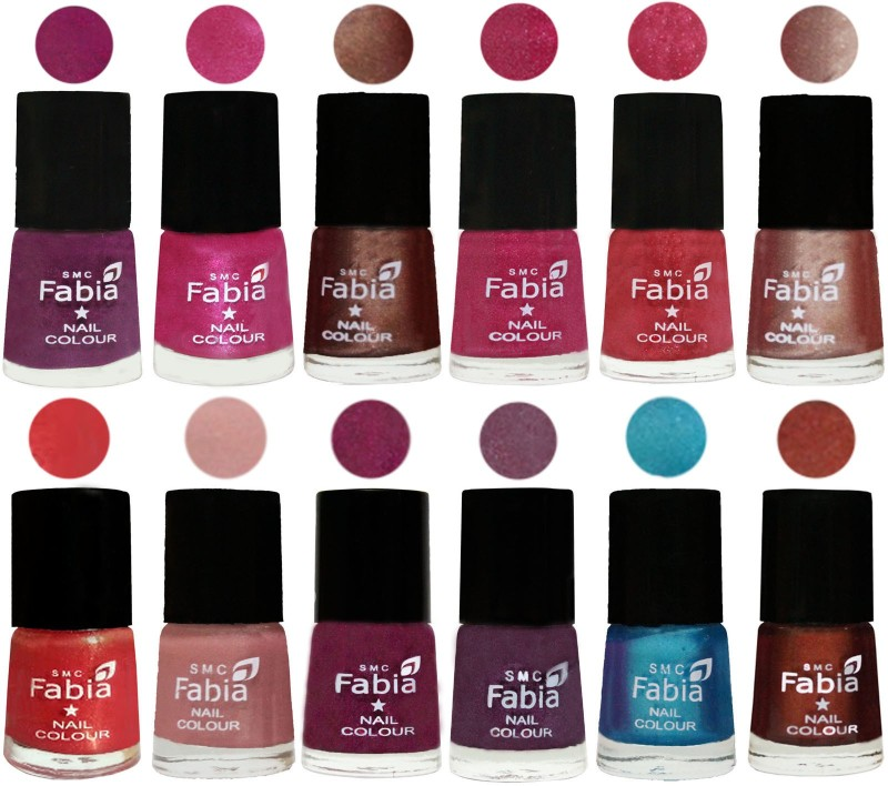 Fabia Nail Polish Pack of 12(6 Ml Each) Professional Serious Nail Polish Shock Pink-Pink-Light Coffee-Magenta-Shock Pink Light-Light Nude-Red Orange-Shrimp Pastell-Cherry Blossom-Light Jam-Denim-Berry(Pack of 12)
