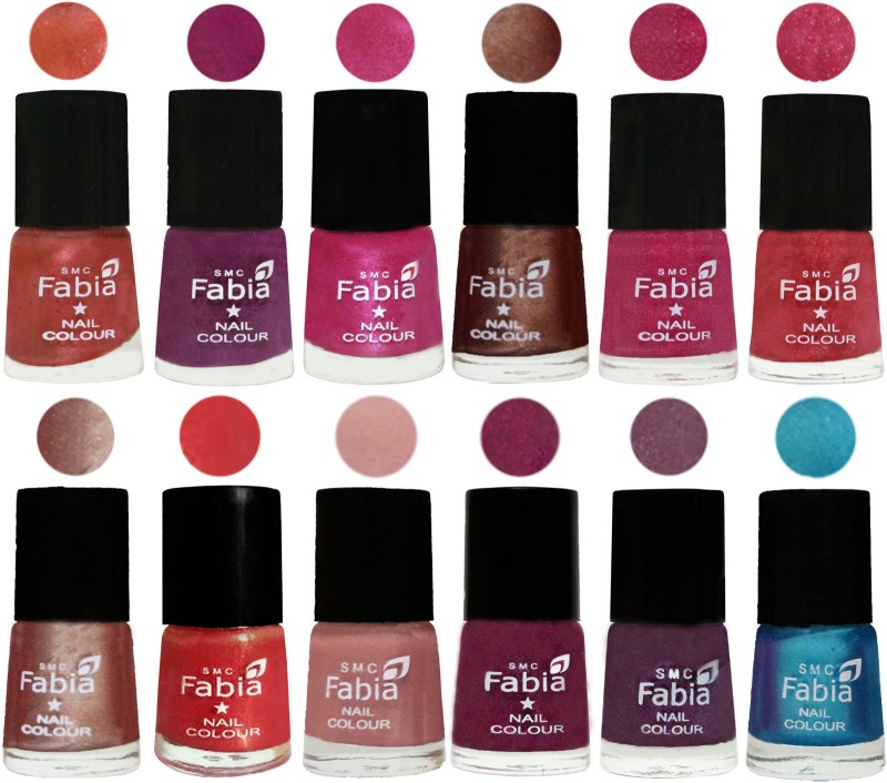 Fabia Nail Polish Pack of 12(6 Ml Each) Professional Serious Nail Polish Dark Peach-Shock Pink-Pink-Light Coffee-Magenta-Shock Pink Light-Light Nude-Red Orange-Shrimp Pastell-Cherry Blossom-Light Jam-Denim(Pack of 12)