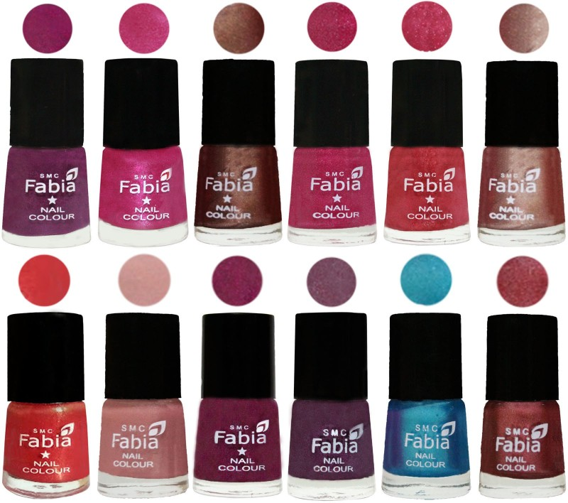 Fabia Nail Polish Pack of 12(6 Ml Each) Professional Serious Nail Polish Shock Pink-Pink-Light Coffee-Magenta-Shock Pink Light-Light Nude-Red Orange-Shrimp Pastell-Cherry Blossom-Light Jam-Denim-Nude Pink(Pack of 12)
