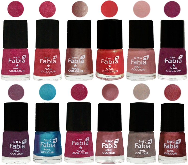 Fabia Nail Polish Pack of 12(6 Ml Each) Professional Serious Nail Polish Magenta-Shock Pink Light-Light Nude-Red Orange-Shrimp Pastell-Cherry Blossom-Light Jam-Denim-Hot Magenta-Lip-Light Beige-Nude Pink(Pack of 12)