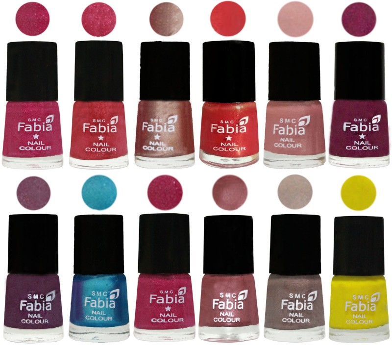 Fabia Nail Polish Pack of 12(6 Ml Each) Professional Serious Nail Polish Magenta-Shock Pink Light-Light Nude-Red Orange-Shrimp Pastell-Cherry Blossom-Light Jam-Denim-Hot Magenta-Lip-Light Beige-Yellow(Pack of 12)