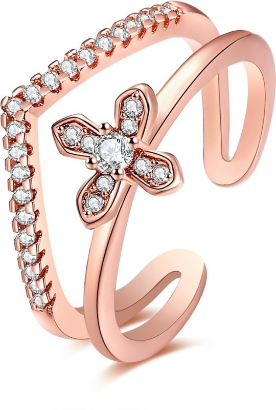 Remanika Clover Open End Alloy Cubic Zirconia Rose Gold Plated Ring