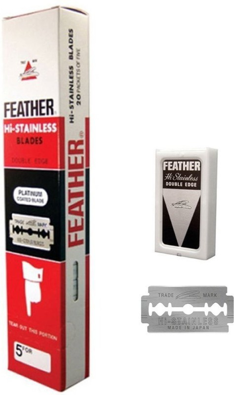 Feather 100 Ct Hi-stainless Double Edge De Razor Blades New Hair Remove Made in Japan(Pack of 100)
