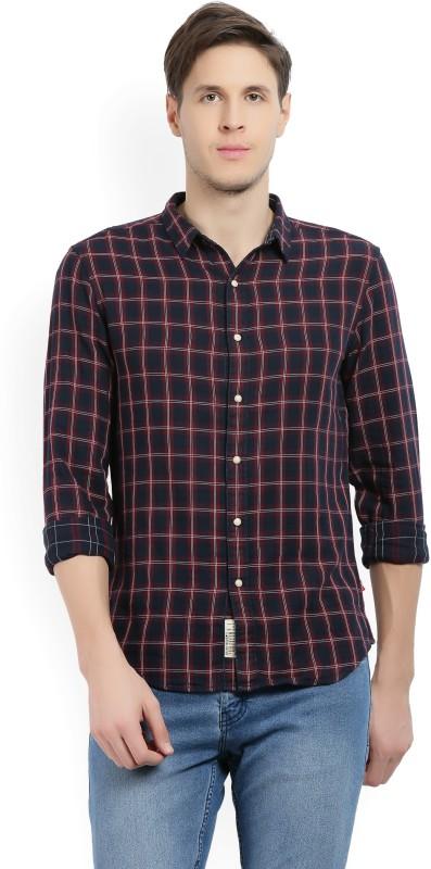 Levis Men Checkered Casual Maroon, Dark Blue Shirt