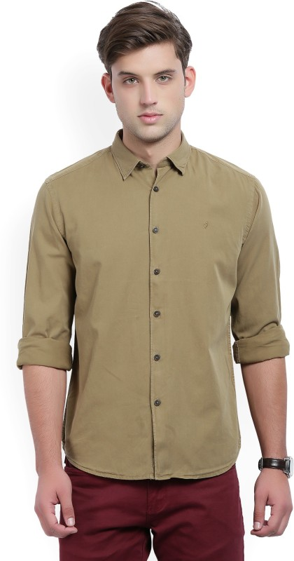 Indian Terrain Mens Solid Casual Green Shirt
