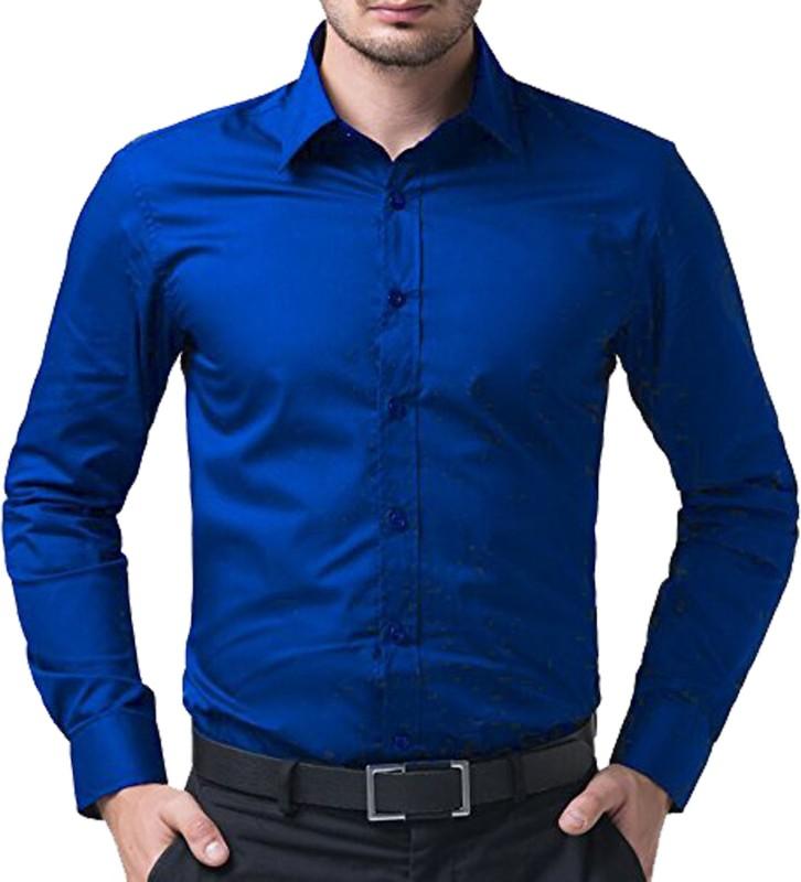 Trendz Deeksha Men Solid Casual Dark Blue Shirt