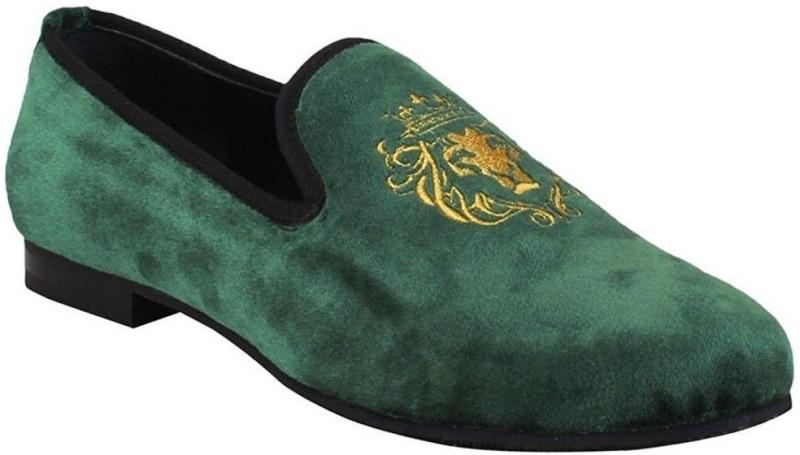Bare Skin Green Lion King Design Velvet Slip On Shoe For men By Bareskin Loafers For Men(Green)