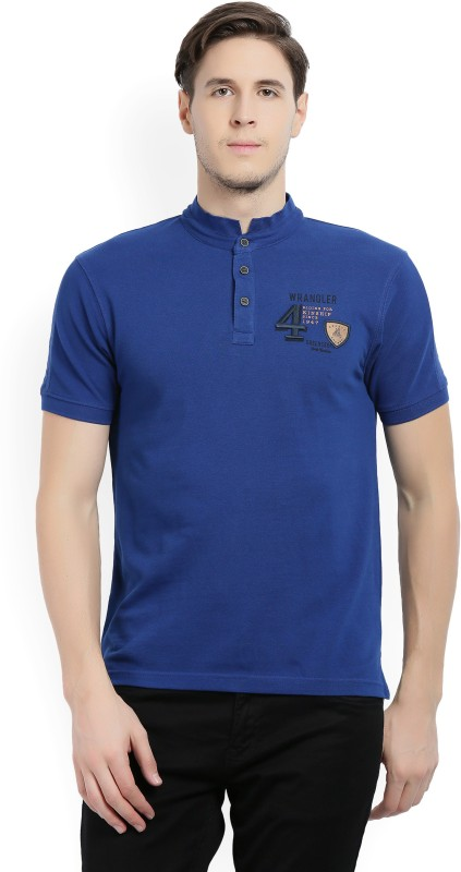 Wrangler Woven Mens Mandarin Collar Blue T-Shirt