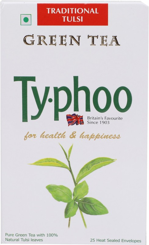 Typhoo Traditional Tulsi Green Tea Bags(25 Bags, Box)