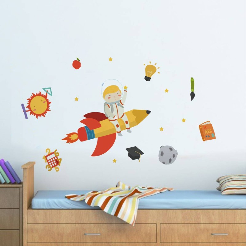 Rawpockets Decals ' Boy Flying in Rocket Ship ' Large Size Wall Sticker ( Wall Coverage Area - Height 105 cms X Width 110 cms)(Pack of 1)(Multicolor)