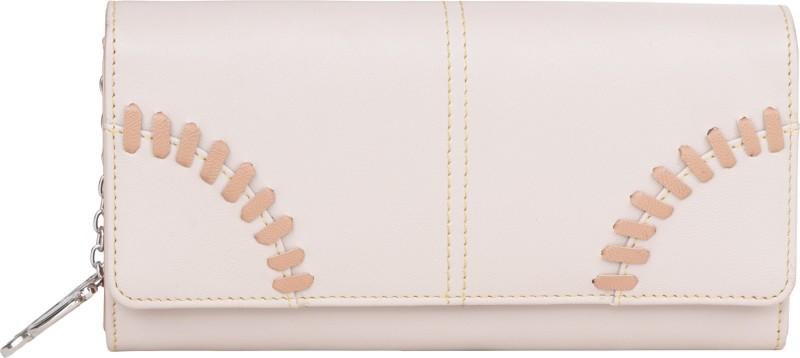 Butterflies Women Beige Artificial Leather Wallet(4 Card Slots)