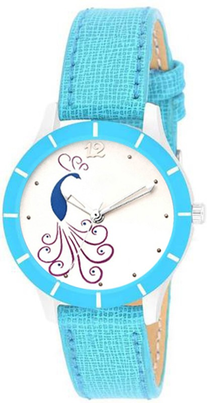 Skmi SKY Blue Leather Strap Morni Print Dial Cutt ~ Glass ~ Designer For Women Watch - For Girls