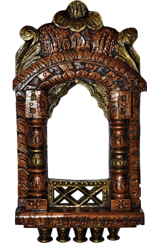 Lal Haveli Rajasthani Home Decor Wall Showpiece Photo Frame Wood Jharokha(42 cm x 23 cm Handcrafted)