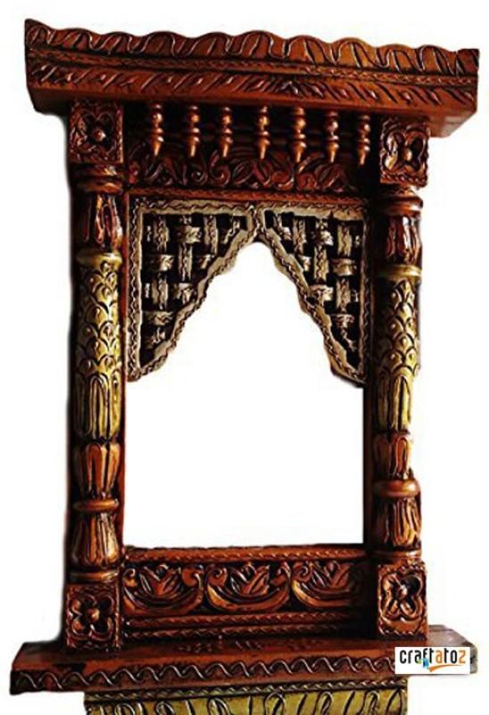 Craftatoz Wood Jharokha(60 cm x 38 cm Handcrafted)