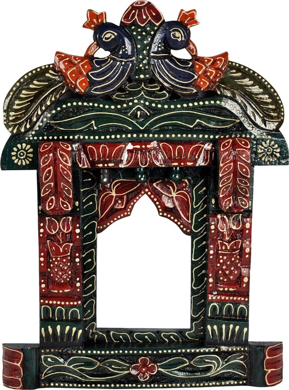 Lal Haveli Ethnic Wall Décor Photo Frame Wood Jharokha(43.18 cm x 30.48 cm Handcrafted)