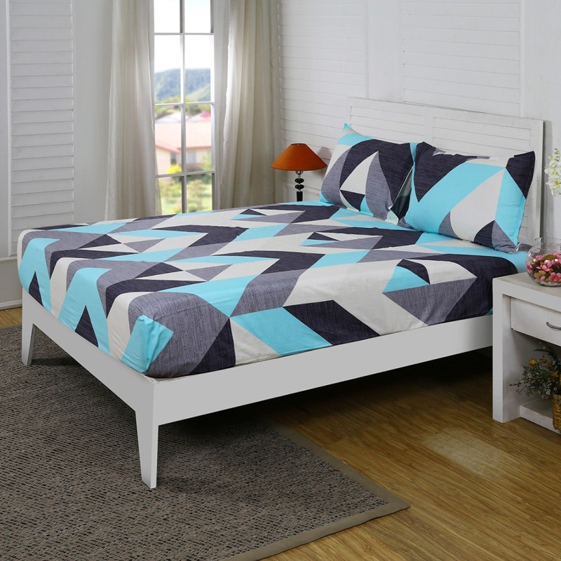 Maspar by Inhouse collection 210 TC Cotton Double Geometric Bedsheet(Pack of 1, Blue)