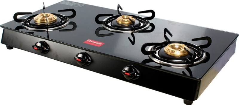 Prestige Royale 3 Burner Top Glass Manual Gas Stove(3 Burners)