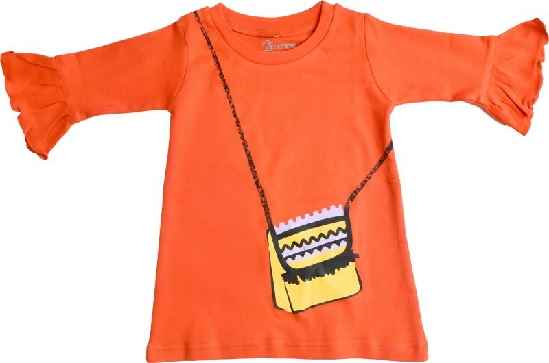 2cute Baby Girls Casual Cotton Top(Orange, Pack of 1)
