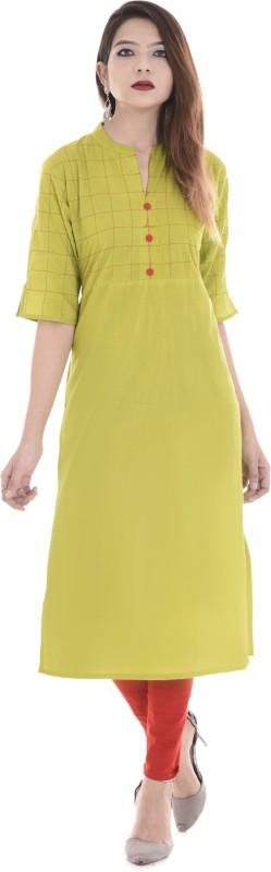 Palakh Women's Solid A-line Kurta(Light Green)