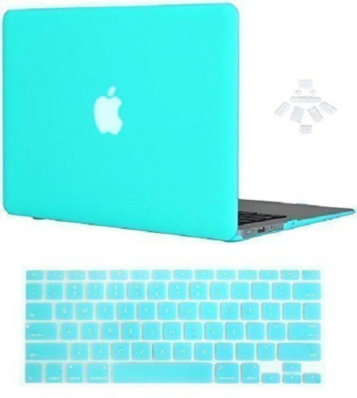 "Midkart Smooth Matte Mint Green / Turquoise for MacBook Air 13"" 13.3 Inches Model A1369 / A1466 With Logo Cut, Silicon Keyboard & Dust Plugs Hard Shell Rubberized Finish Case Cover Combo Set(turquoise)"