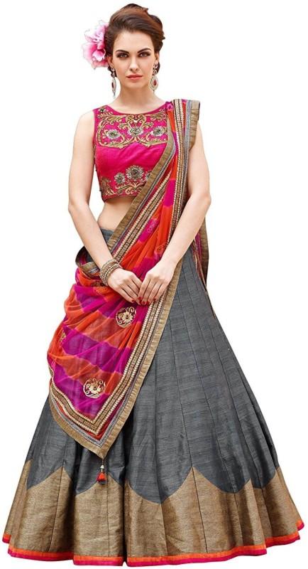 Omstar Fashion Embroidered Lehenga, Choli and Dupatta Set(Multicolor)